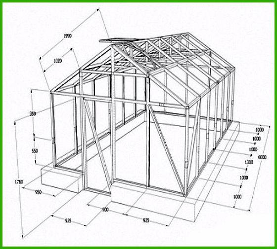Теплица домиком своими руками из поликарбоната чертеж 91