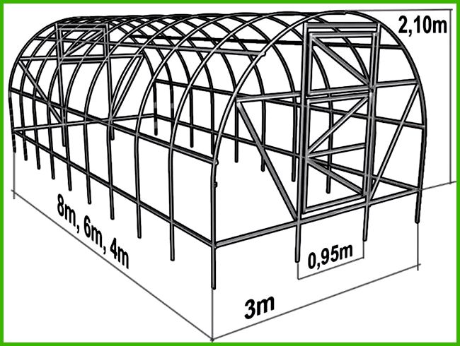 Теплица из поликарбоната своими руками: чертежи с размерами, схема, фото